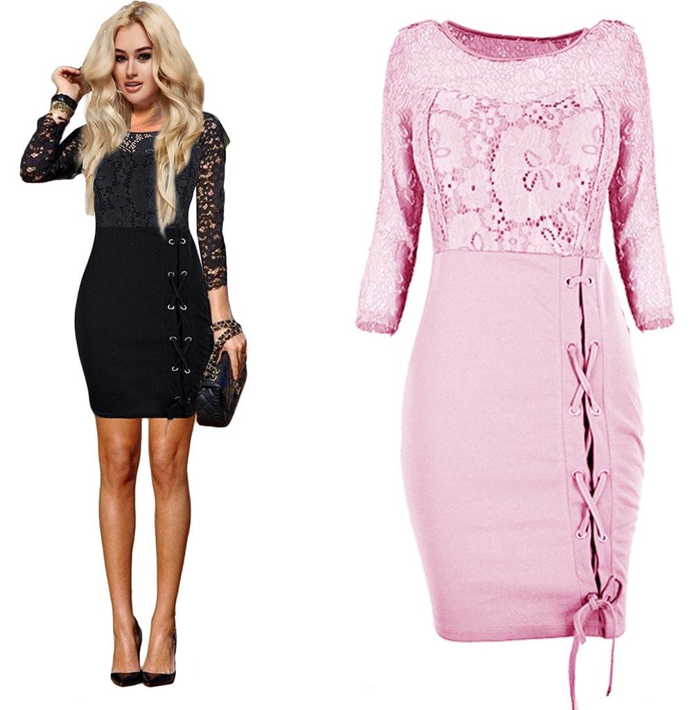 24efbbccf420 Krasaprozeny.cz - Luxusní krajkové šaty - baby pink - Sukně