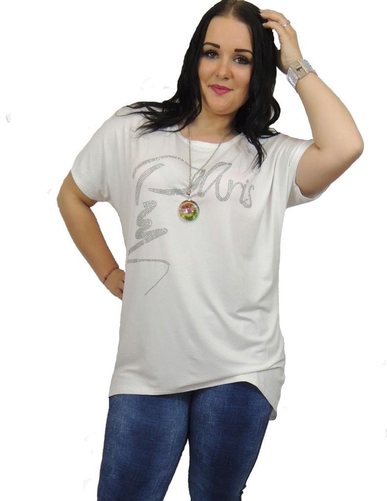 e9a95370220b Krasaprozeny.cz - Jedinečné tričko s kamínky - white - Móda XXL ...