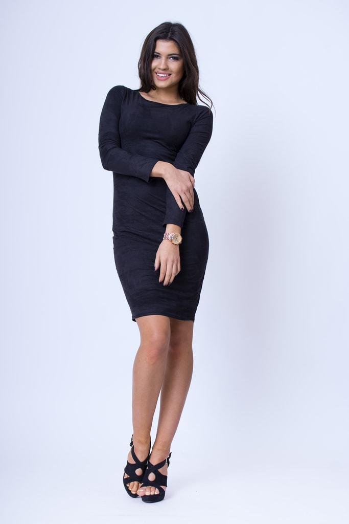 fc2683462df6 Krasaprozeny.cz - Nádherné semišové šaty - black - Sukně
