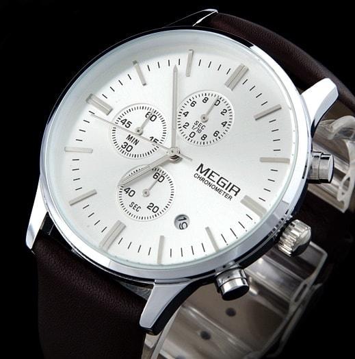 c230c6b1682 ... Nový model stylových pánských hodinek MEGIR Chronograph TLW11 -  silver brown. detail hodinek MEGIR Chronograph