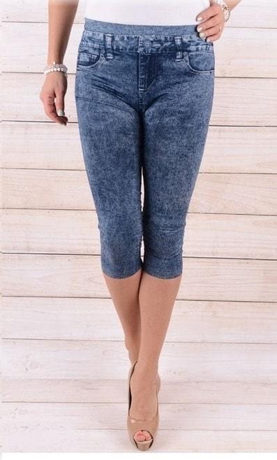 42e14c49f38 Krasaprozeny.cz - Dámské 3 4 legíny - imitace jeans - vzor 1 - blue ...
