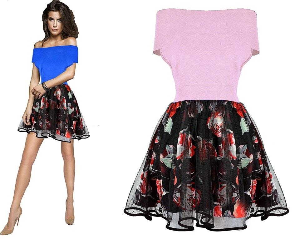 25c054b64588 Krasaprozeny.cz - Dámské luxusní šaty s květovanou sukní - pink ...