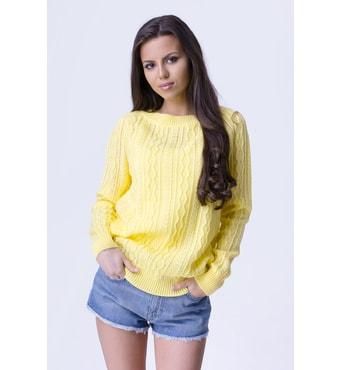 Krasaprozeny.cz - Módní dámský svetřík - yellow - Svetry 607a12648f