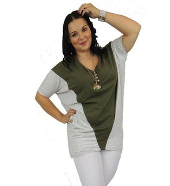 2b0fa4f64 Katalog » DÁMSKÁ MÓDA » Móda XXL - 5XL » Dámské zajímavé delší tričko -  khaki. zajímavé tričko