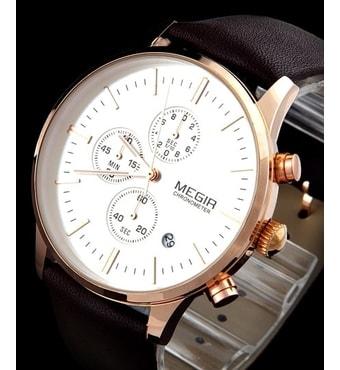 d987322c0c1 ... Nový model stylových pánských hodinek MEGIR Chronograph TLW11 -  gold brown. stylové hodinky