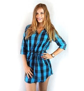 61b3873e834 Krasaprozeny.cz - Dámské košilové šaty se vzorem - modro-černá ...