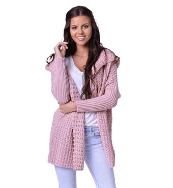 Krasaprozeny.cz - Luxusní kardigan s kapucí - pink - Kardigany ... 7a54f84901