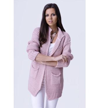 Krasaprozeny.cz - Luxusní hřejivý kardigan s kapsami - pink - Svetry ... 541ac40580