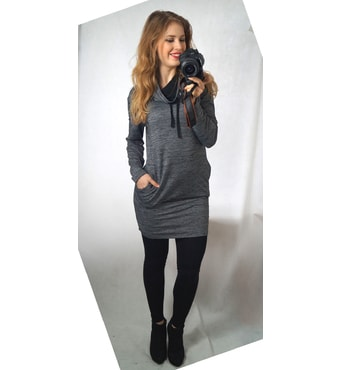 6044631c403 Krasaprozeny.cz - Luxusní mikinové šaty - šedý melír - Sukně