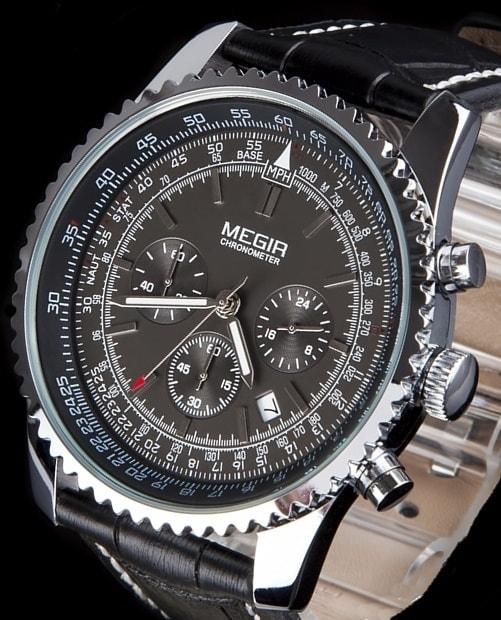 Letecké hodinky pro pořádné chlapy s chronografem MEGIR AVIATOR - PILOT -  silver 4424aac932