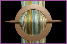 Provázková záclona De Luxe trio-effect-bílá-olivová-tyrkysová