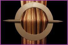 Provázková záclona De Luxe trio-effect-čokoládová-zlatá-koňaková