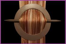 Provázková záclona De Luxe trio-effect- bílá-zlatá-hnědá