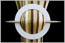 Provázková záclona De Luxe trio-effect- ecru-čokoládová-olivová